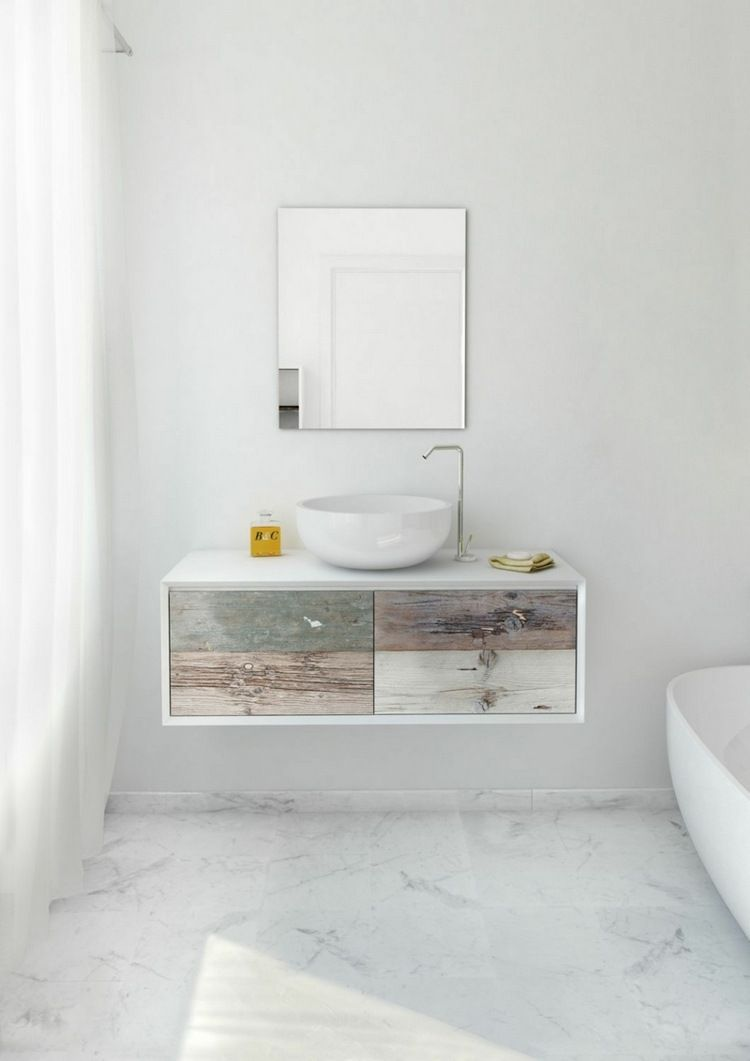 Meuble vasque salle de bain en bois patin et blanc mat vasque vasque salle de bain salle - Meuble salle de bain bois blanc ...