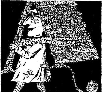 """""""Vocación"""" La malvada hipotenusa capturó a pi en su cuaderno de ejercicios. El alumno, que apenas levantaba dos palmos del pupitre, fue testigo de la emboscada. Justo en ese momento, decidió consagrar el resto de su vida a las letras. (Ángeles Jurado) Ilustración de Boris Kulikov"""