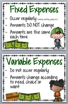 financial literacy fixed and variable expenses staar aligned