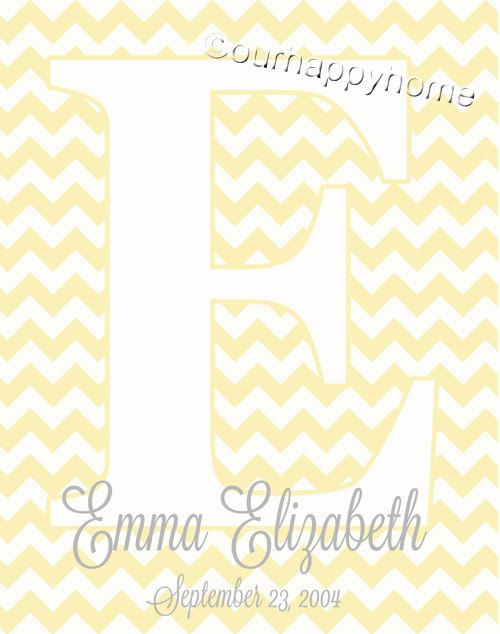 Baby Name Wall Art 11x14 Printable PDF Digital by FourHappyFaces ...