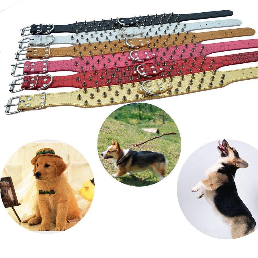 Designer Pet Dog Collar 2 Inch Wide Croc Leather Spiked Collars