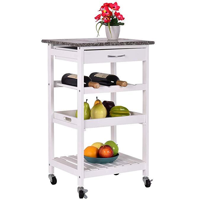 Amazon Com Giantex 4 Tier Rolling Wood Kitchen Trolley Island Cart Storage Shelf Drawer Wine Rack Kitchen Islands Wood Kitchen Kitchen Trolley Kitchen Cart