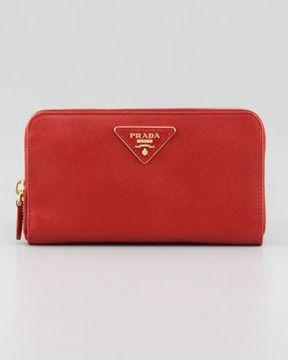 3dc3f133c6ca Prada Saffiano Triangle Zip-Around Wallet