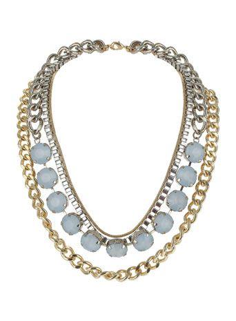 Mehrreihige Halskette mit blauen Schmucksteinen