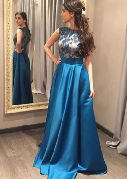Blue Appliques Sleeveless A-line Satin Prom Dresses 2017 | Long Prom ...