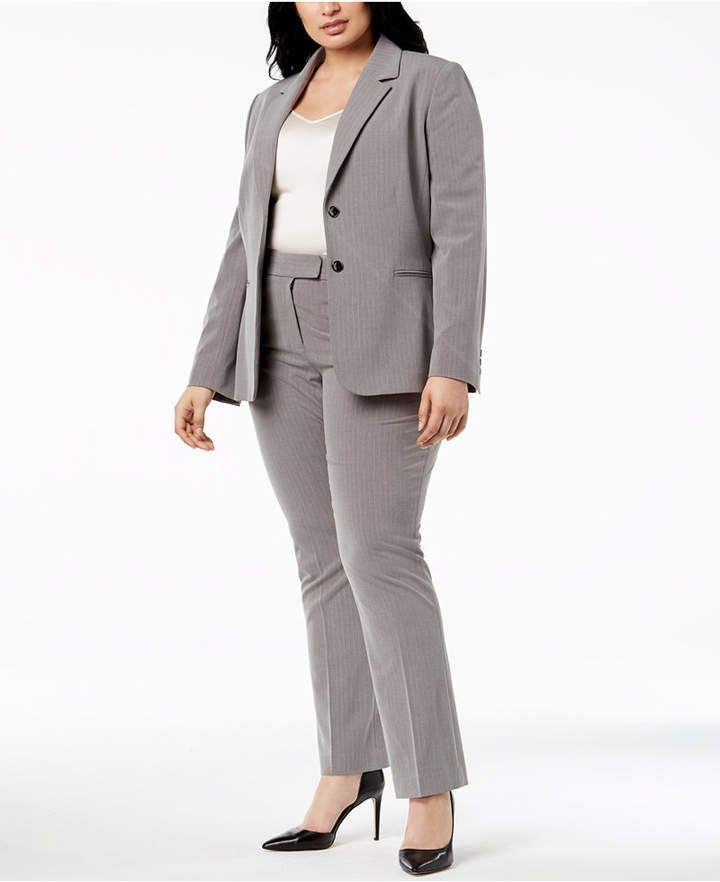 Tahari Asl Plus Size Two Button Pinstriped Pantsuit Fabulous Full