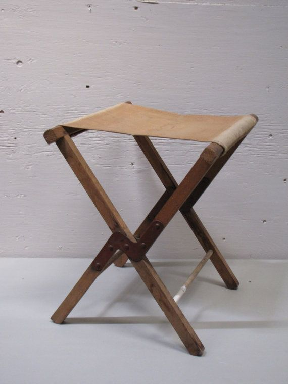 Vintage Wood And Canvas Camp Chair Stool Airstream