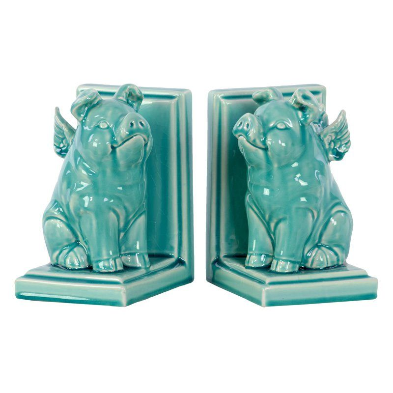 Benzara Ceramic Sitting Winged Pig Bookend Set | from hayneedle.com