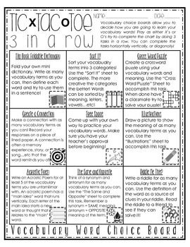 Vocabulary word choice board any subject tic tac toe my students love to use this vocabulary word choice board in order to practice and learn pronofoot35fo Gallery