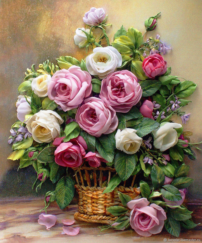 0cdb4a51ff3 Картины цветов ручной работы. Ярмарка Мастеров - ручная работа. Купить  Картина лентами Розы в корзине. Handmade. Вышивка лентами