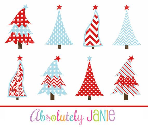 Red Blue Christmas Tree Clipart Whimsical By Absolutelyjanie Whimsical Christmas Trees Whimsical Christmas Christmas Tree Clipart