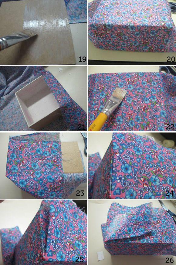 Como revestir caixa de mdf com tecido e decoupage for Revestir y decorar