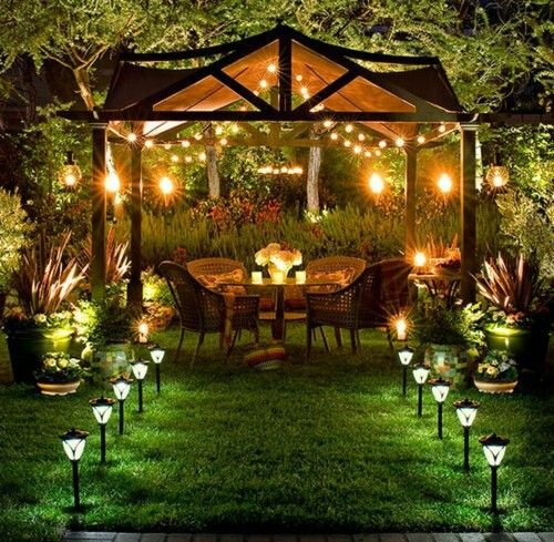 Firepit Solar Lights And An Outdoor Pavilion Garden