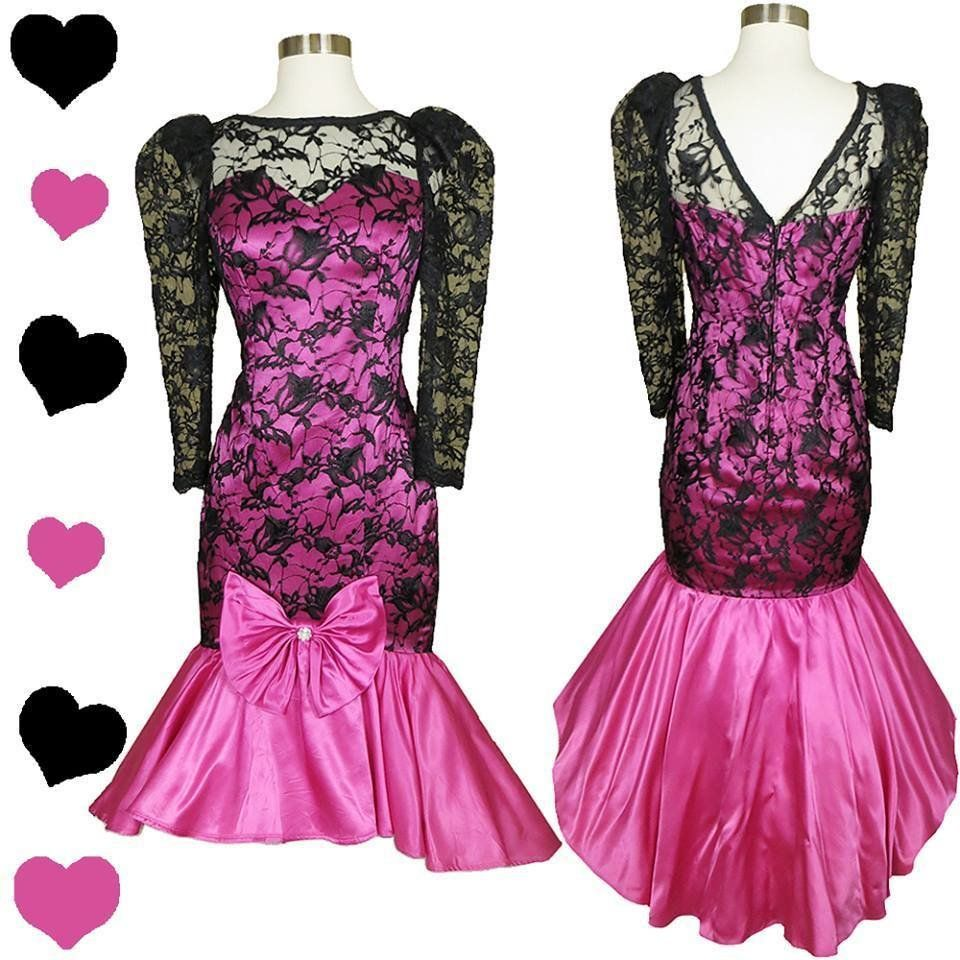 Vintage 80s Black Lace Pink Prom Dress S, $95.00 | PinupDresses ...