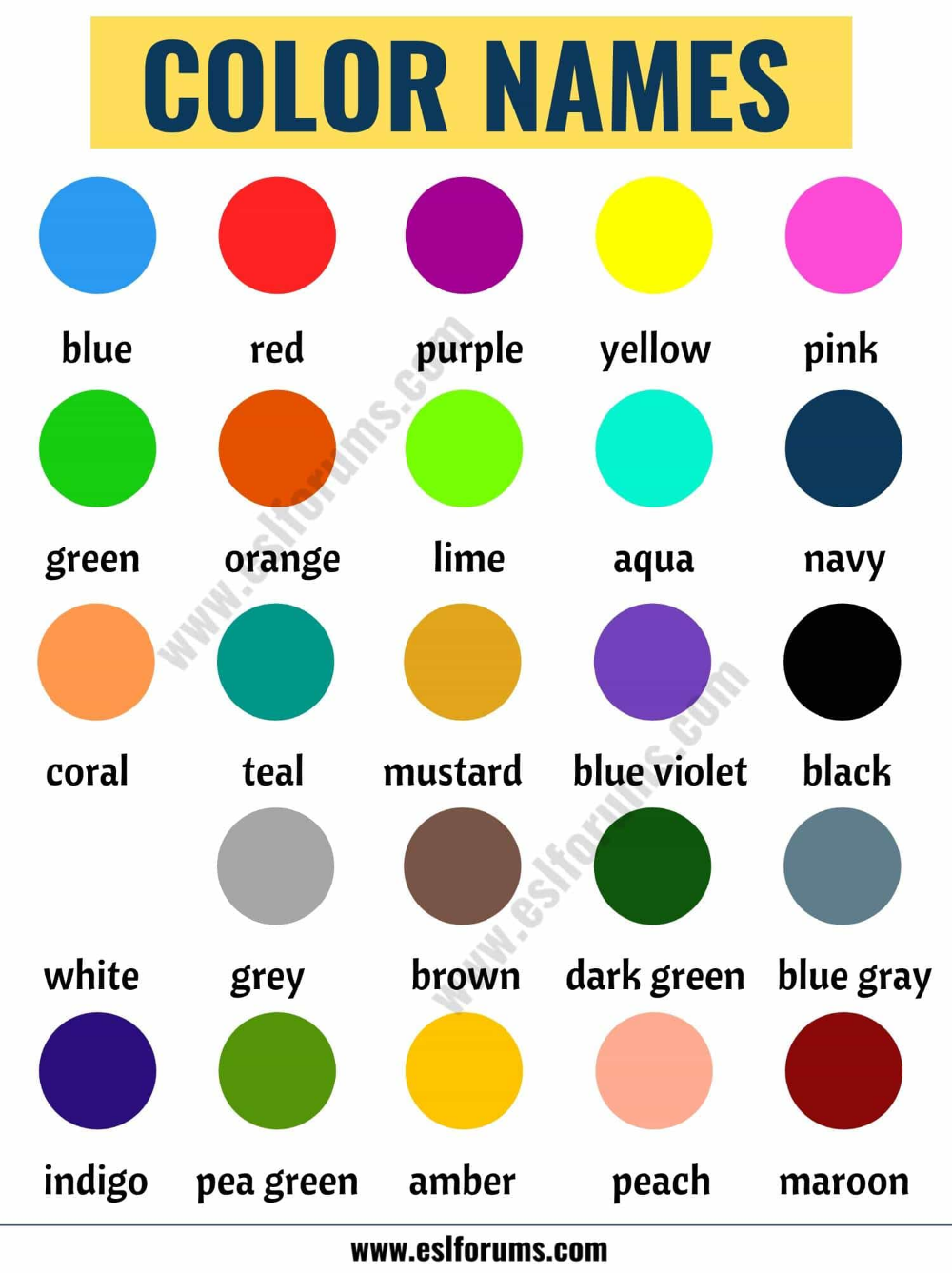 Color Names List Of Colors In English With The Picture Esl Forums Colors Name In English Colours Name For Kids Colour Names List