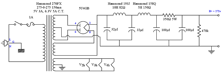 5u4gb schematic power supply