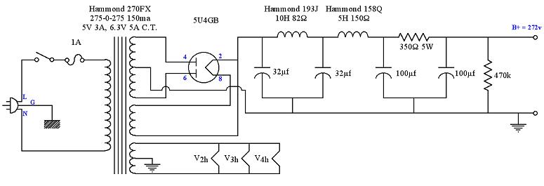 5U4 Tube Power Supply Schematic for SE 6V6 Amplifier ...