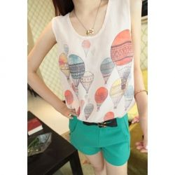 Refreshing Balloon Printing White Chiffon Vest For Women