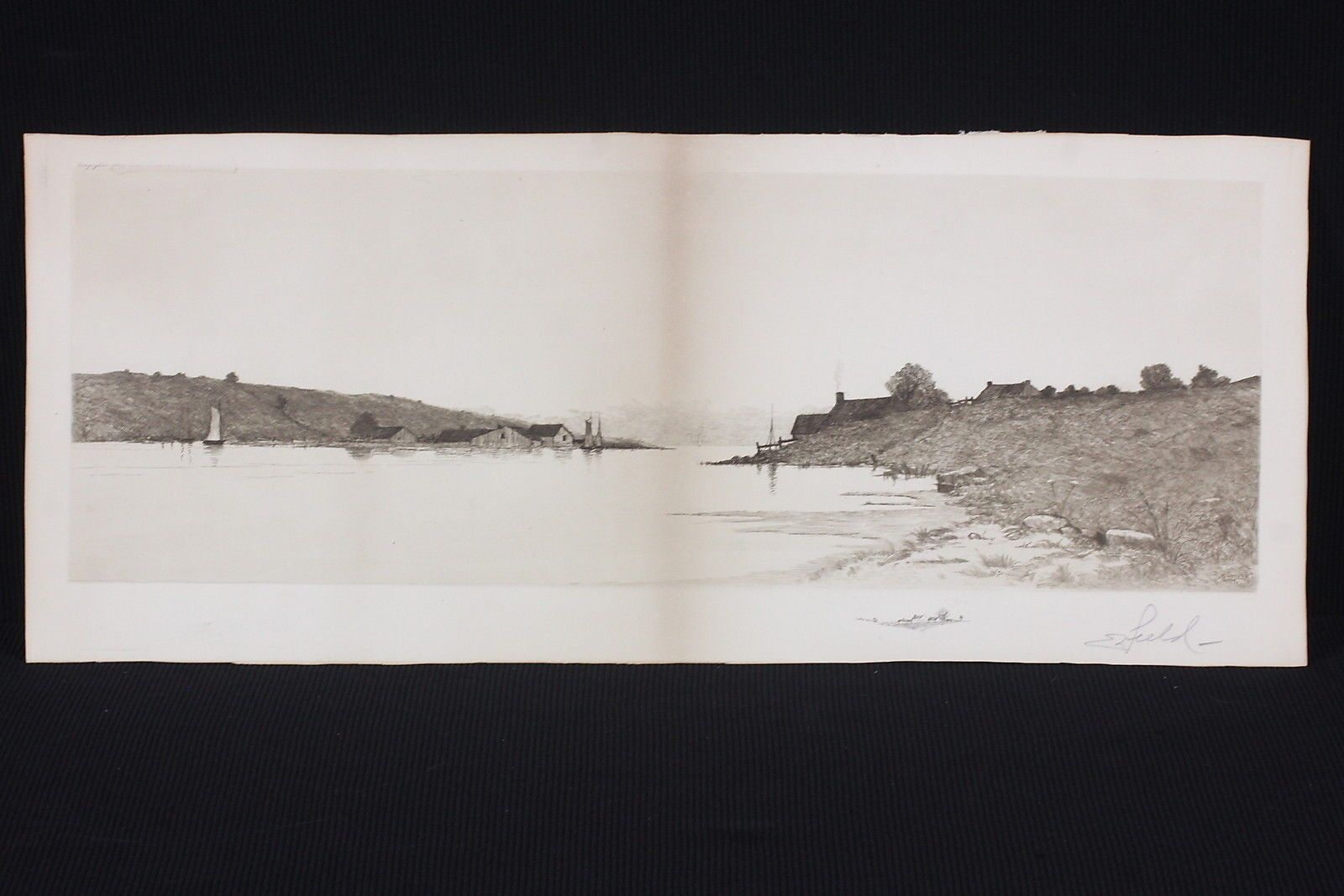 Edward Loyal Field Etched Print Pencil Signed Panoramic Landscape Remarque Proof