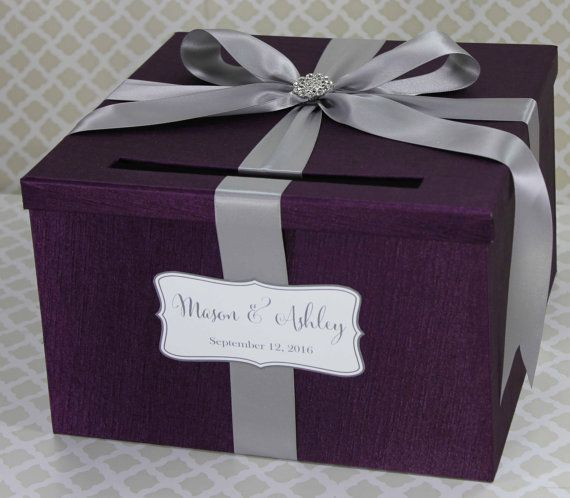 Wedding Card Box Plum Purple And Silver Classic By Littledivine
