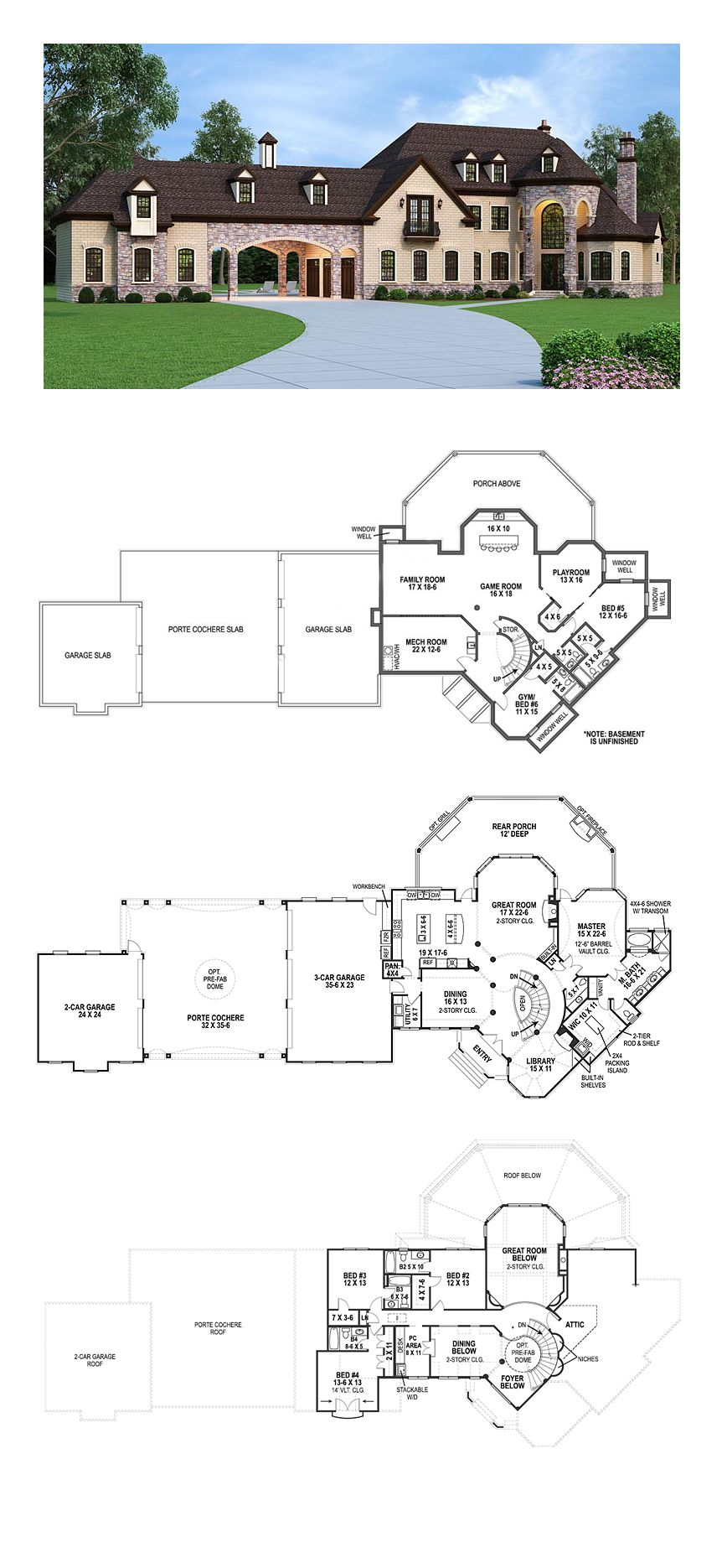 French Country Style House Plan 72226 With 5 Bed 5 Bath 5 Car Garage Country Style House Plans French Country House Plans French Country House