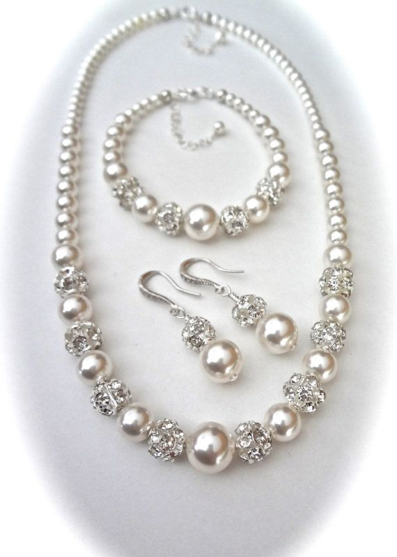 Pearl Jewelry Set, Chunky, Swarovski, 3 piece, Necklace Bracelet Earrings, Gift For a Bride Mother of Bride, Bridesmaids, Wedding, LOLITA #pearljewelry