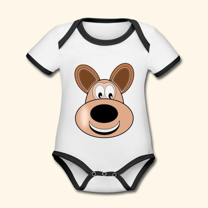 Süßes Hunde T-Shirt mit deinem Lieblingshaustier | Baby Bio-Kurzarm-Kontrastbody