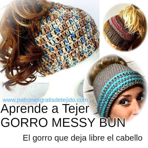 como tejer gorro messy bun paso a paso en español video tutorial ...