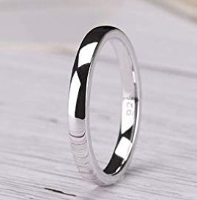 Sterling Silver 12mm Comfort Fit Flat Band Ring