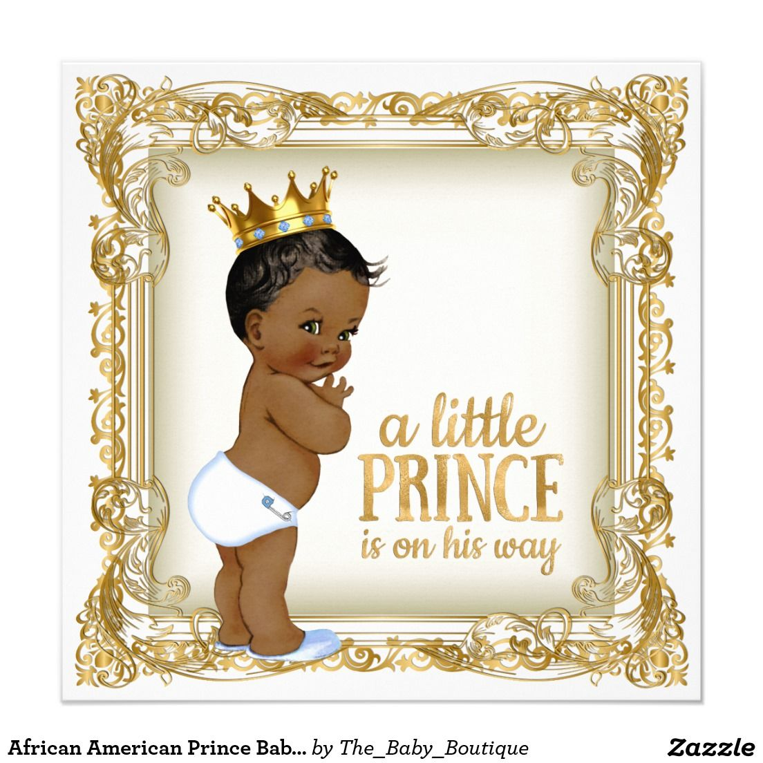 African American Prince Baby Shower Ethnic Boy Invitation | Boy Baby ...