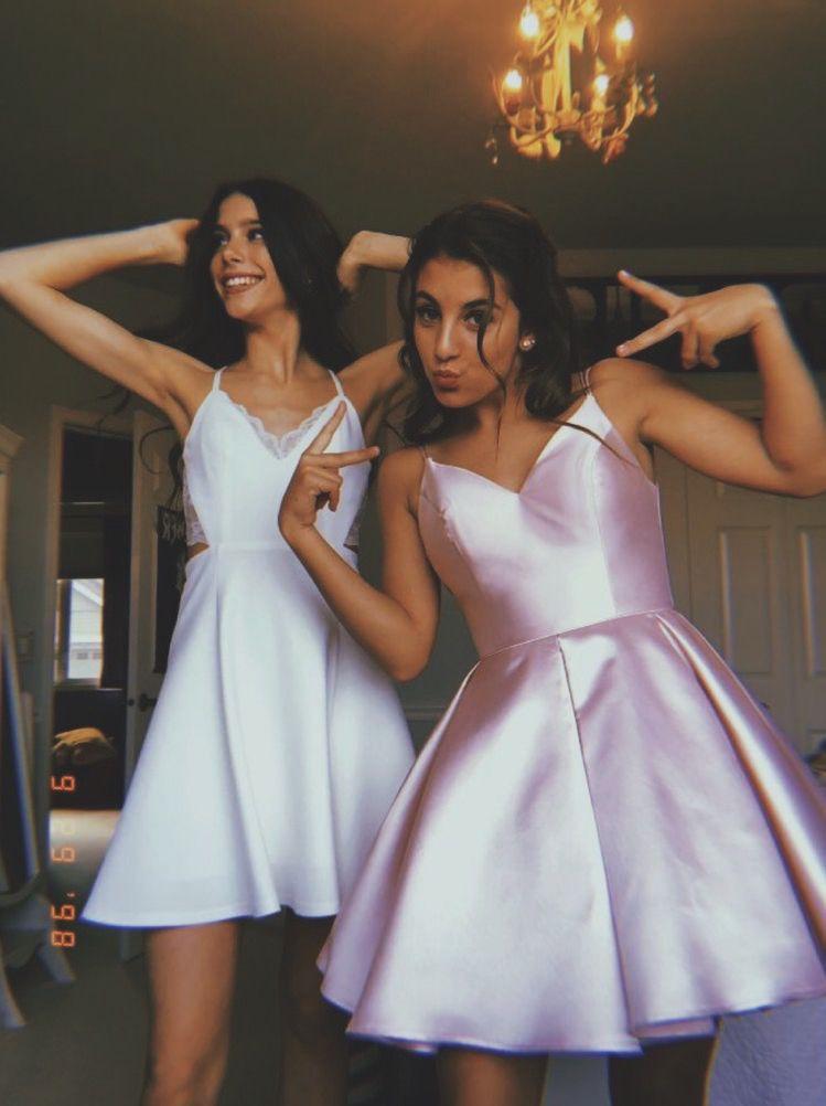 Annas Bridal Womens Spaghetti Straps V Neck Satin Short Prom Homecoming Dresses