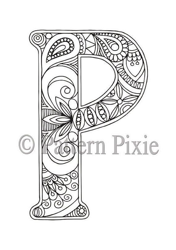 Adult Colouring Page Alphabet Letter P