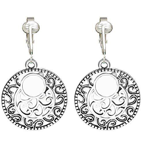 91a1533a5 Silver Filigree Hoops Clip On Earrings for Women | Best Gold ...