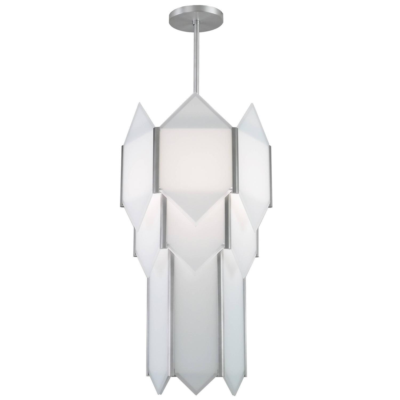 Art deco style skyscraper chandelier in stainless steel with white art deco style skyscraper chandelier in stainless steel with white glass panels arubaitofo Gallery