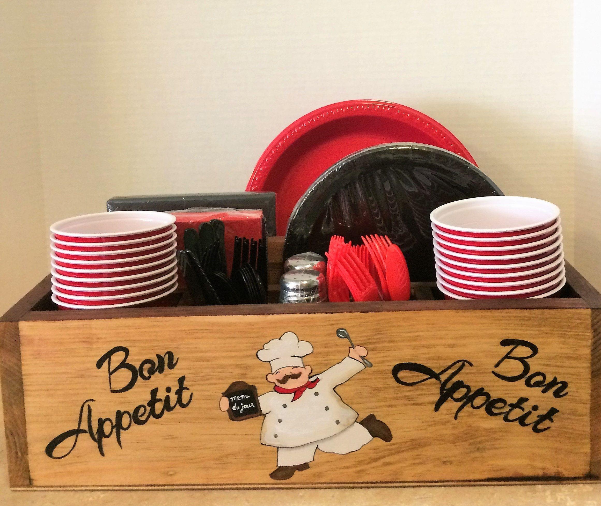 Tableware Holder Chef Decor Kitchen Theme Paper Plate Napkin Caddy