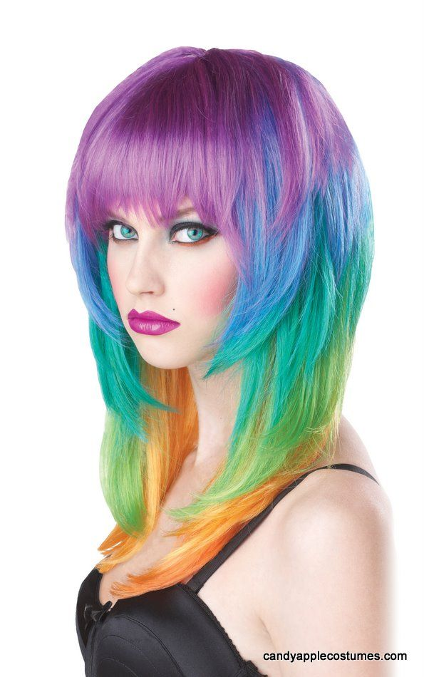 Rainbow Kaleidoscope Wig Party Like A Rock Star In This