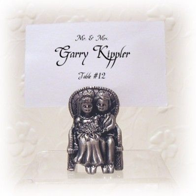 Pewter Seated Bride and Groom Placecard Holder | Nuptial