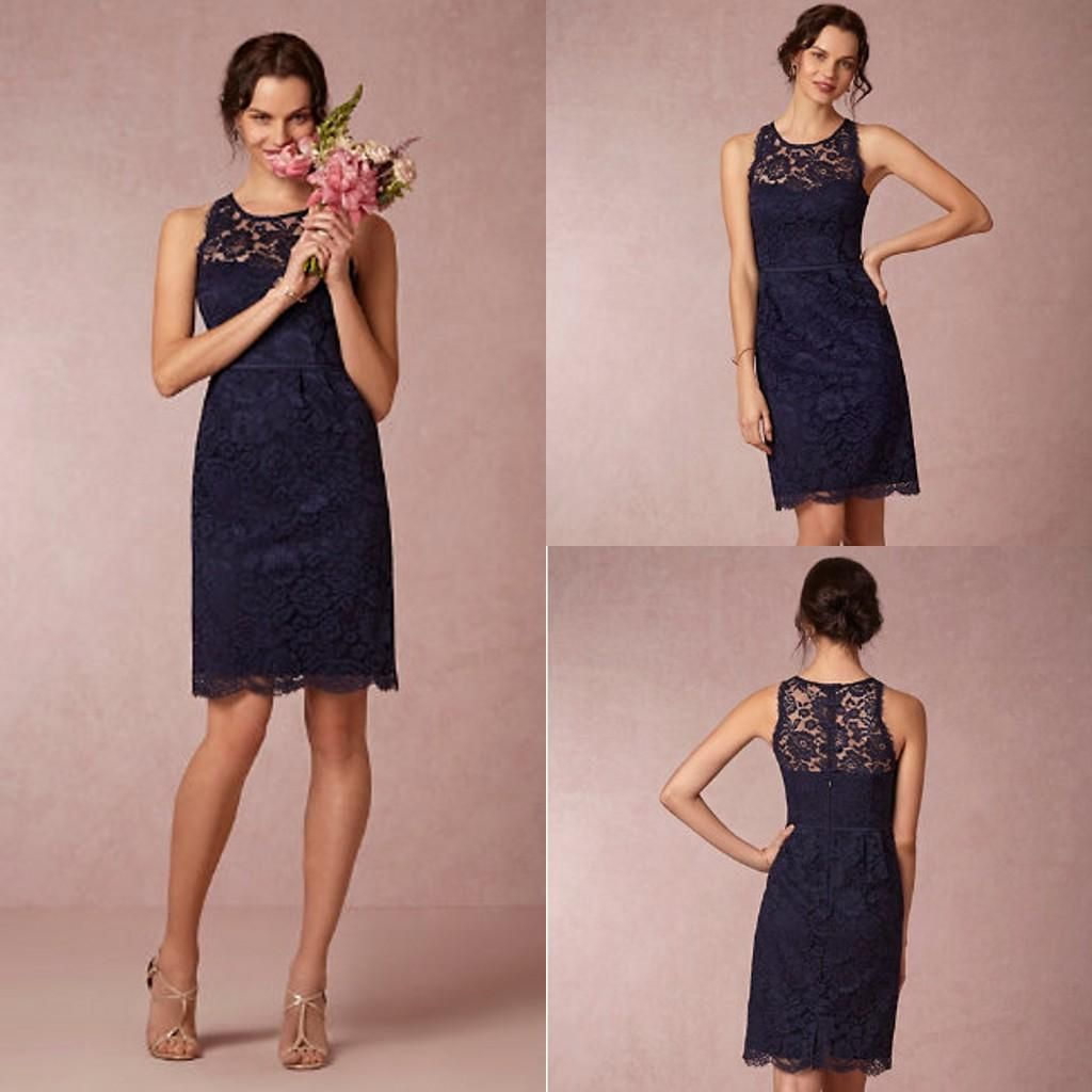 Off the rack bridesmaid dresses a sheer neckline sheath short lace