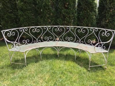 Large French Curved Wrought Iron Bench Wrought Iron Bench