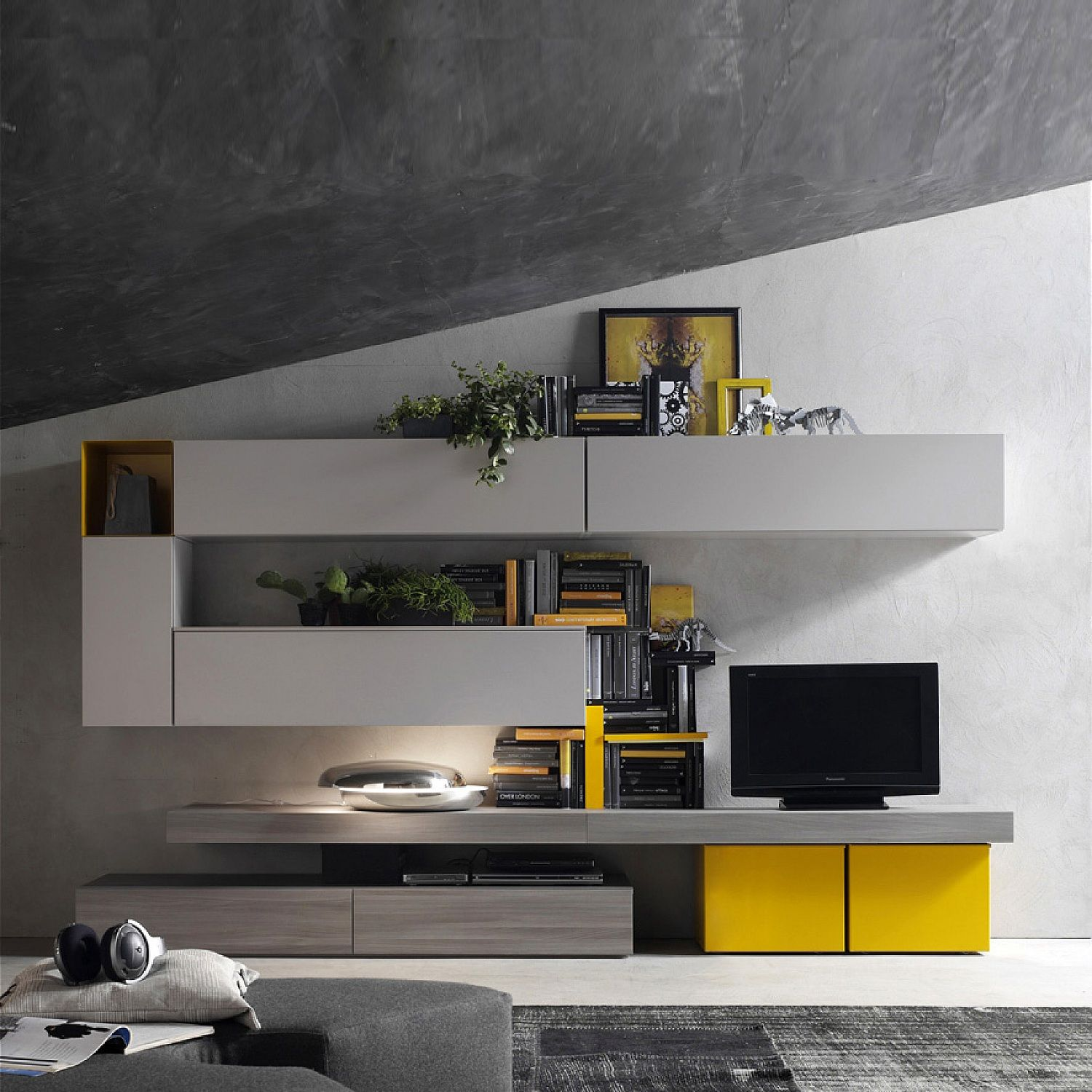 Italian Tv Media Unit Yellow Grey By Santa Lucia L 360 H 170 D 38 Contemporary Living Room Furniture Modern Tv Stand Living Rooms Living Room Grey