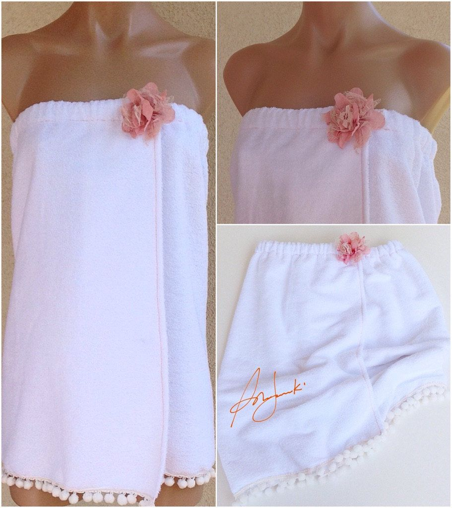 Ladies Towel Wrap / Cover Up / Spa Wrap / Robe with Straps ...