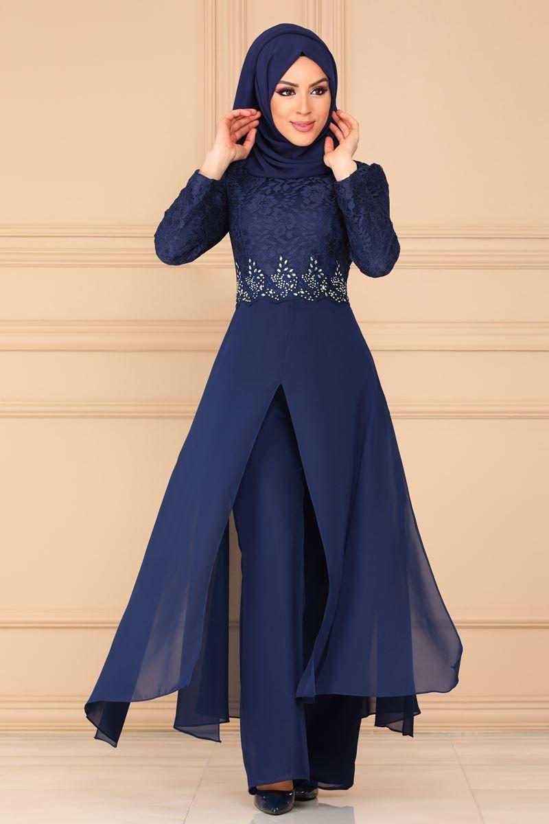 Modaselvim Kombin Beli Tasli Abiye Kombin 8782w153 Indigo Elbise Islami Giyim Batik Elbise