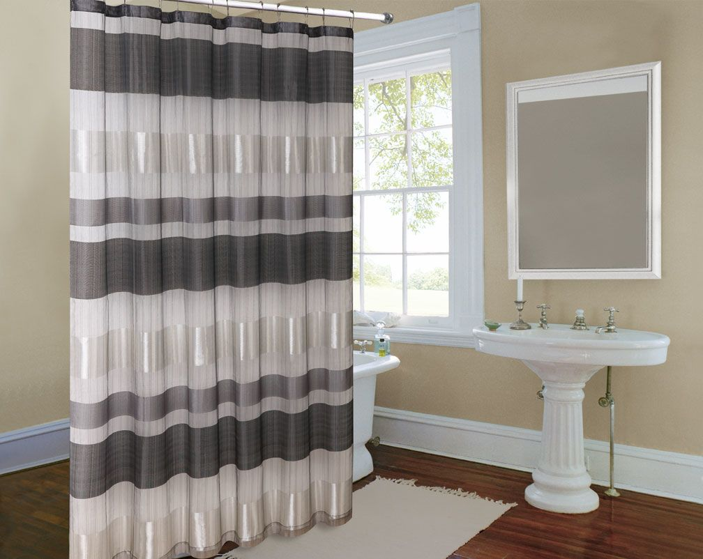 Metallic stripe silver grey bathroom curtain bathroom decor ideas