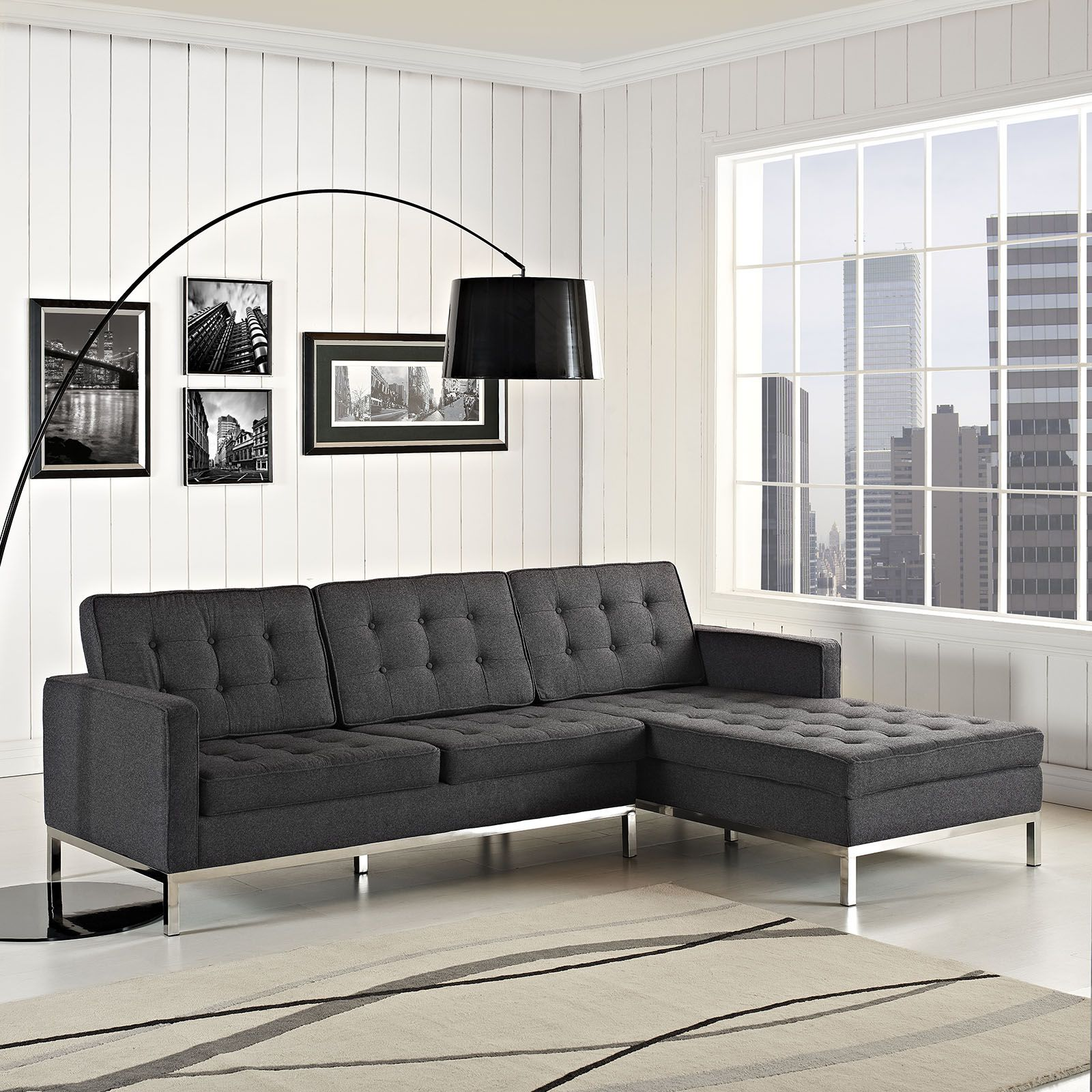Swanky Charcoal Sectional Kick back and relax in urban chic style