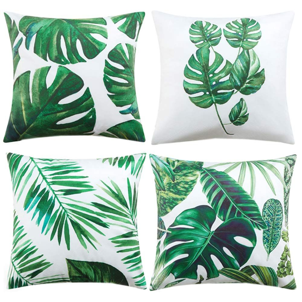 Tayyakoushi Tropical Leaves Decorations Set Of 4 Soft Velvet Decorative Pillow Covers 18 X 18 With Tropical Palm Monstera Leaves Print For Summer Green Decor In 2020 Velvet Decorative Pillow Leaf Decor Palm Leaf Pillow
