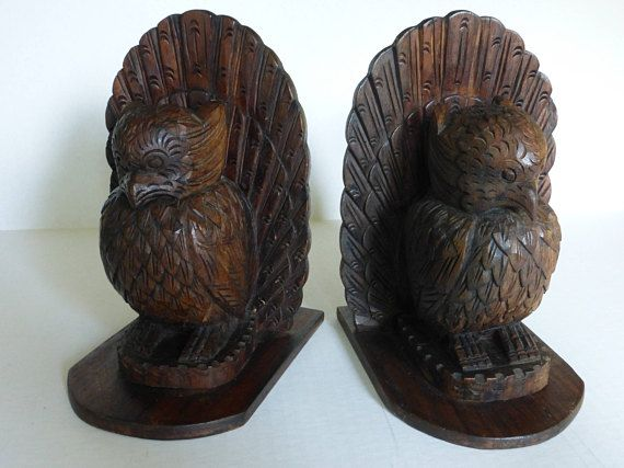 Pair Of Hand Carved Wood Owl Bookends Folk Art Figurines