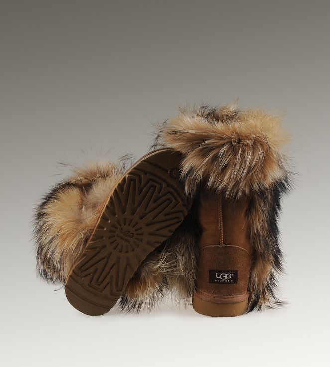 ugg short fox fur 5825 chestnut boots women ugg fox fur boots rh pinterest com