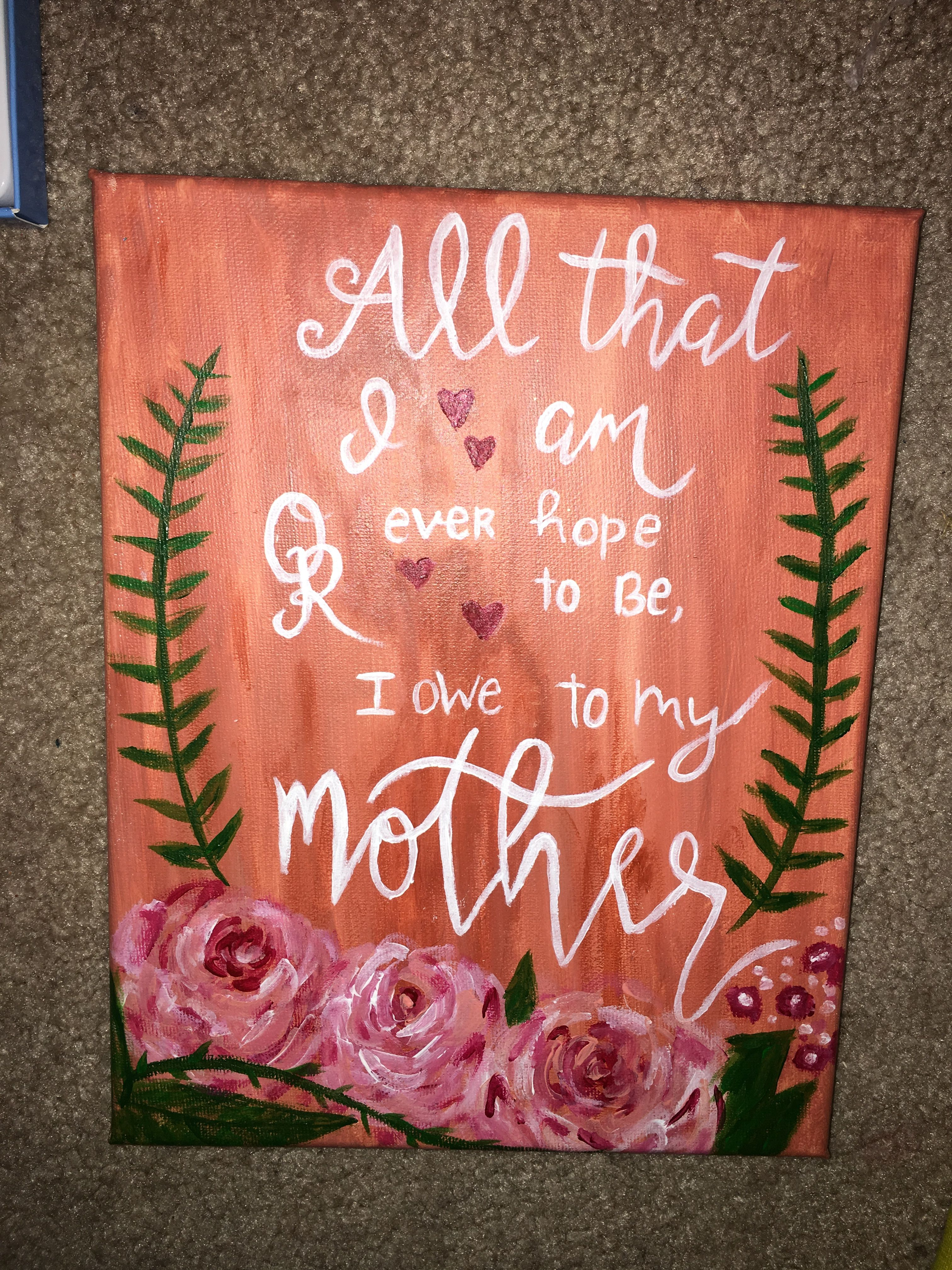 Mother S Day Canvas With Images Christmas Canvas Diy Gifts