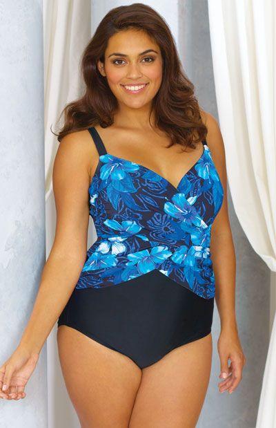 f812899f75 Delta Burke® Swimwear - Plus Size Crossover Mio - Amazon Floral ...