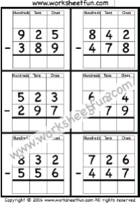 3 digit borrow subtraction regrouping 4 worksheets math math addition worksheets. Black Bedroom Furniture Sets. Home Design Ideas